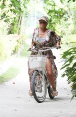 Kerry Katona On bicycle during a ride around the beautiful surroundings of Ayada Maldives