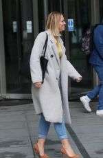 Kimberley Walsh Flashes sensational physique in gold top and denim exits Radio 5 studio in London