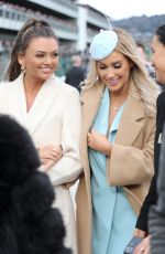 Laura Anderson At Cheltenham Festival on Day One wearing blue blazer dress