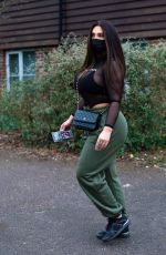 Lauren Goodger Leaving her house with mask on her face in Essex