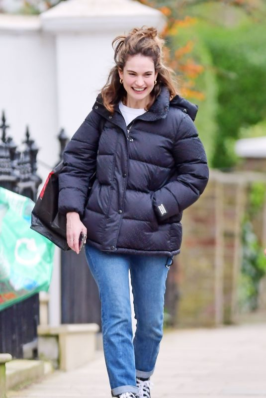 Lily James Out in London