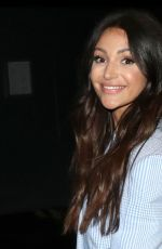 Michelle Keegan Dressed in a lilac plaid suit and white heels spotted leaving the Our Girl - London screening