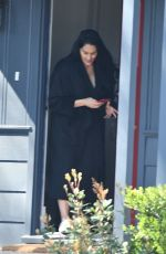 Nikki Bella Picks up a package at her home in Studio City