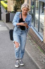Paige Turley Is all smiles dressed in double denim spotted leaving Tileyard Music Studios, London