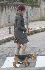 Princess Elena de Borbon (sister of The King of Spain Philip VI) walks her dog in Madrid