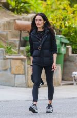 Abigail Spencer Goes for a walk with a friend around Studio City