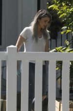 Ali Fedotowsky Enjoys some gardening in her front yard