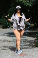 Alice Amter From Big Bang Theory exercises outside Fryman Canyon in Studio City