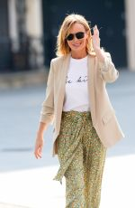 Amanda Holden Wears Zara print trousers and SilkFred slogan T-shirt as she heads home from Heart Radio in London