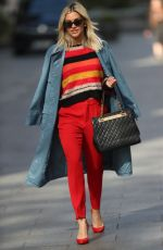 Ashley Roberts Is all smiles while pictured leaving Heart Radio in Colourful top, red trouser and YSL Handbag in London