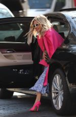 Ashley Roberts Leaving Heart Radio in pink coat and summer skirt in London