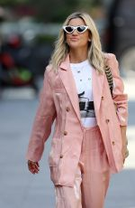 Ashley Roberts Leaving the Global studios after the Heart Radio Breakfast show wearing rose gold trouser suit in London