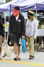 Ashley Tisdale and Christopher French go shopping at the Farmer