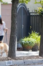 Aubrey Plaza Keeps her distance while walking her dogs with a friend