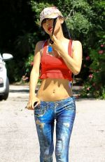 Bai Ling Shows her interesting way of stretching out after hitting the trails at Fryman Canyon in Studio City