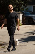 Becca Tobin Is in good spirits as she takes her pup for a walk with husband, Zach Martin in Los Angeles
