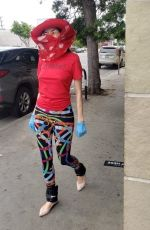Blanca Blanco Shopping at Bristol Farms wearing fashionable protective gear