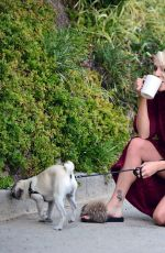 Courtney Stodden Debuts her new short haircut whilst walking her pug puppy called Gucci sporting a risque robe in Los Angeles