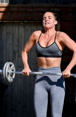 Danielle Lloyd Working out in her yard in Liverpool
