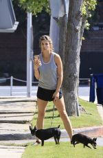 Elisabetta Canalis Takes her two dogs for a walk during the COVID-19 virus pandemic lockdown in Los Angeles