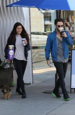 "Emma Slater and husband Sasha Farber from ""Dancing With the Stars"" is seen getting coffee from Bluestone Lane Coffee"