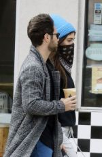 Emma Slater Covers up as she and Sasha Farber get coffee