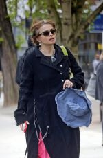 Helena Bonham Carter Follows the social distancing measures and queues 2 meters apart to get into Budgens supermarket in London