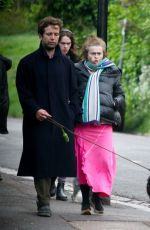 Helena Bonham Carter Head out for a stroll with her boyfriend Rye Dag Holmboe with their dog in London