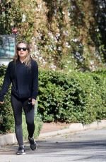 Jennifer Meyer seen out for a walk with Sara Foster today to get their daily exercise in around Pacific Palisades