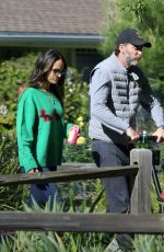Jordana Brewster and family go for a walk