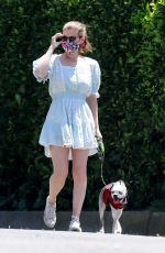 Kate Mara Takes her dog out for a walk in Los Feliz