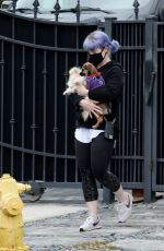 Kelly Osbourne Cradles two dogs while stepping out in Los Angeles