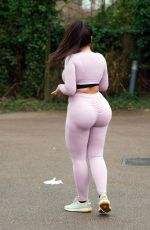 Lauren Goodger Leaving her house to go out for a morning run
