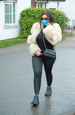 Lauren Goodger Leaving her house wearing leggings, trainers and a fur coat along with a blue mask