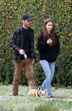 Lily Collins Out taking her dog out for a walk with her boyfriend in Beverly Hills