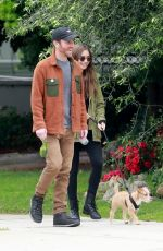 Lily Collins With her dog Redford in Beverly Hills