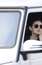 Lucy Hale Gets a coffee From Starbuck Drive Thru in Los Angeles