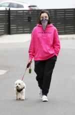 Lucy Hale Goes for a walk on Easter Sunday with her sister and her dog in Studio City