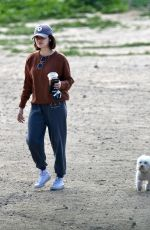 Lucy Hale Takes her dog Elvis to a local park in LA