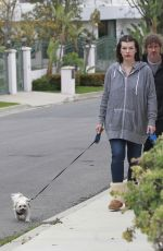 Milla Jovovich Walking her dogs in Beverly Hills