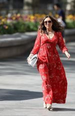 Myleene Klass In red maxi dress arrives Smooth Radio in London