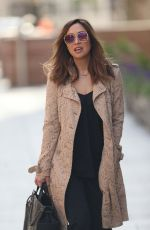 Myleene Klass Wears embroidered floral coat while arriving at Smooth Radio in London