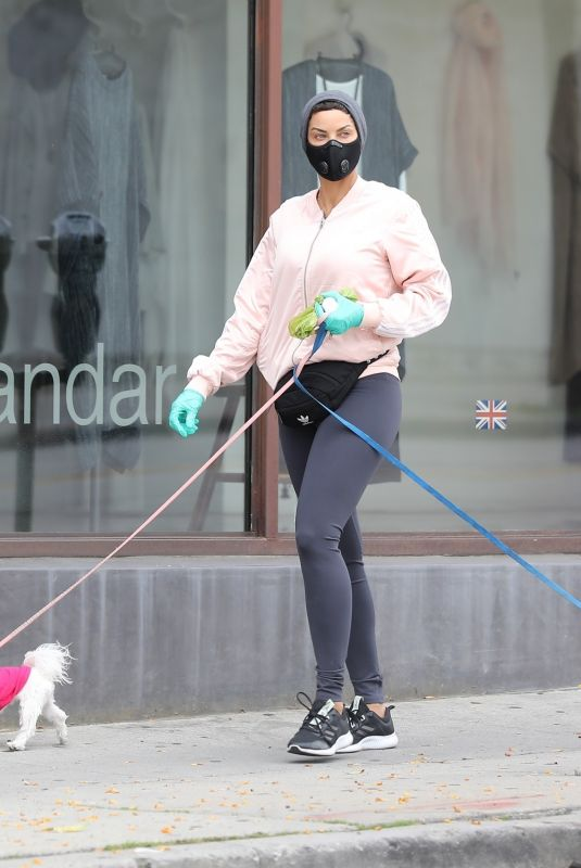 Nicole Murphy Takes her dog for a stroll through Beverly Hills