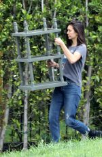 Nina Dobrev Moving some furniture in LA