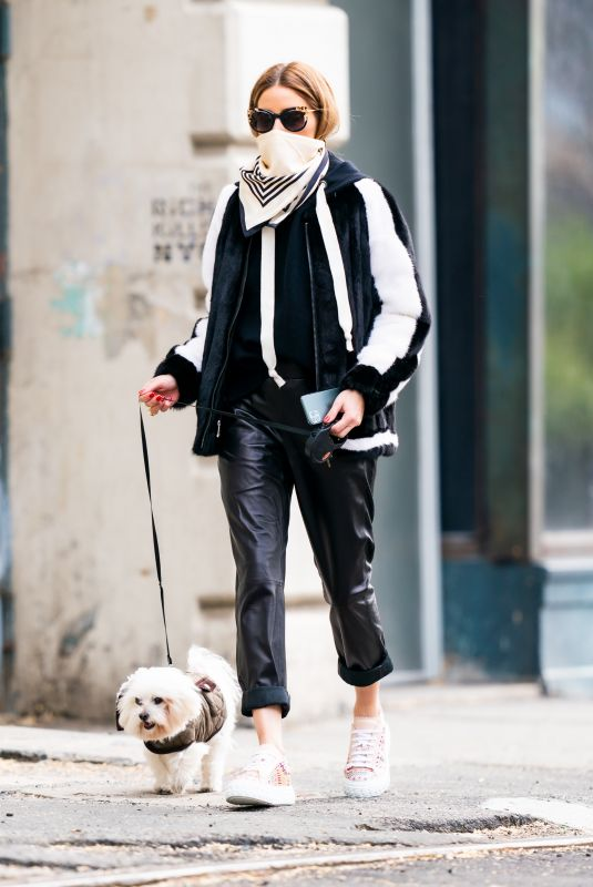 Olivia Palermo Steps out for a dog walk in New York