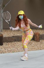 Phoebe Price Gets some tennis in on Sunday during Quarantine