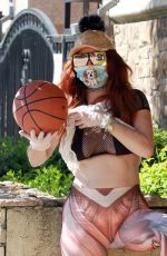 Phoebe Price Makes funny poses with a basketball wearing Human Muscle Print Elastic Waist Skinny Yoga Leggings
