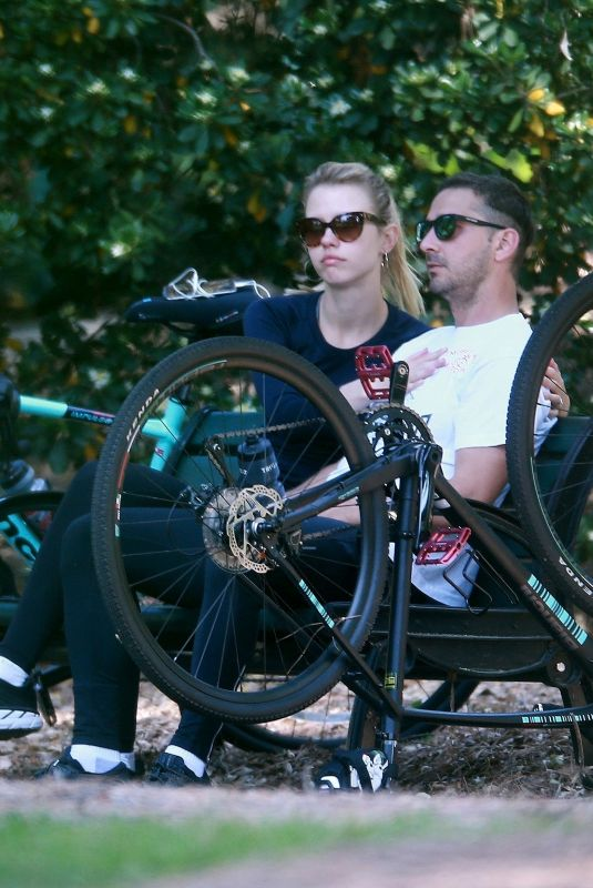Shia LaBeouf & Mia Goth go for a Run and Bike Ride in Pasadena