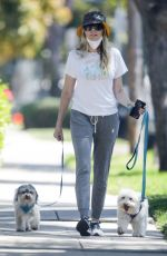 Tish Cyrus Takes her furry friends for a stroll in Toluca Lake