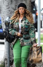Tyra Banks Wears Custom Camo Military Jacket for trip to Erewhon Organic